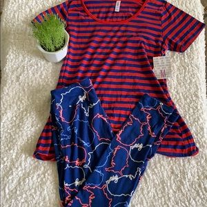 LulaRoe outfit OS leggings and medium classic tee